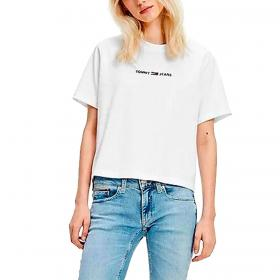 T-shirt Tommy Jeans in cotone con logo ricamato da donna rif. DW0DW10057