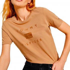 T-shirt Tommy Hilfiger in cotone con logo tono su tono da donna rif. WW0WW31772