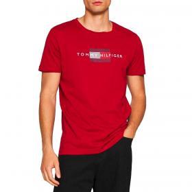 T-shirt Tommy Hilfiger in cotone biologico con logo a righe da uomo rif. MW0MW20164