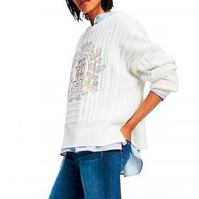 Pullover Tommy Hilfiger in maglia con monogramma ricamato da donna rif. WW0WW31546