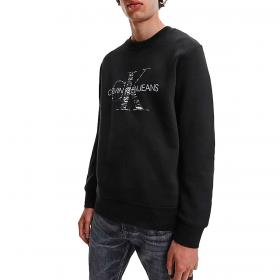 Felpa Calvin Klein Jeans con monogramma in cotone biologico con logo da uomo rif. J30J319365