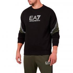 Felpa Emporio Armani EA7 Athletic Colorblock con maxi logo da uomo rif. 6KPM28 PJ07Z