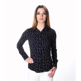 Camicia a maniche lunghe elasticizzata con disegni fiocchi- donna