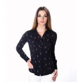Camicia a maniche lunghe elasticizzata con disegni rossetto - donna