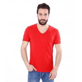 T-shirt basic tinta unita scollo a V - uomo