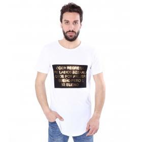 T-shirt casual maniche corte con stampa in rilievo - uomo