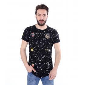 T-shirt maniche corte effetto consumato con stemmi - uomo