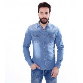 Camicia denim jeans maniche lunghe - uomo