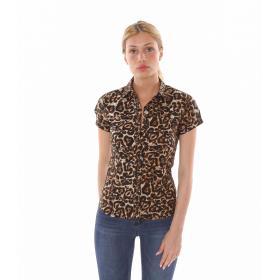 Camicia a maniche corte animalier leopardata - donna