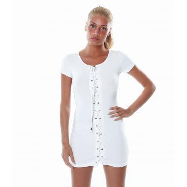Vestito da Donna con allacciatura frontale in cotone elasticizzato
