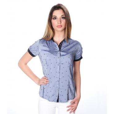 Camicia da donna a maniche corte con orlo e cannoncino a contrasto