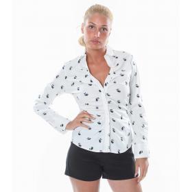 Camicia a maniche lunghe elasticizzata con disegni gufetti - donna