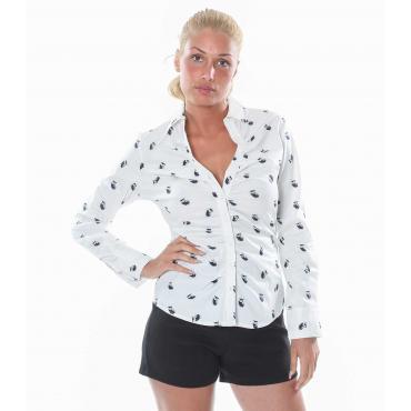 Camicia da donna a maniche lunghe elasticizzata con disegni gufetti