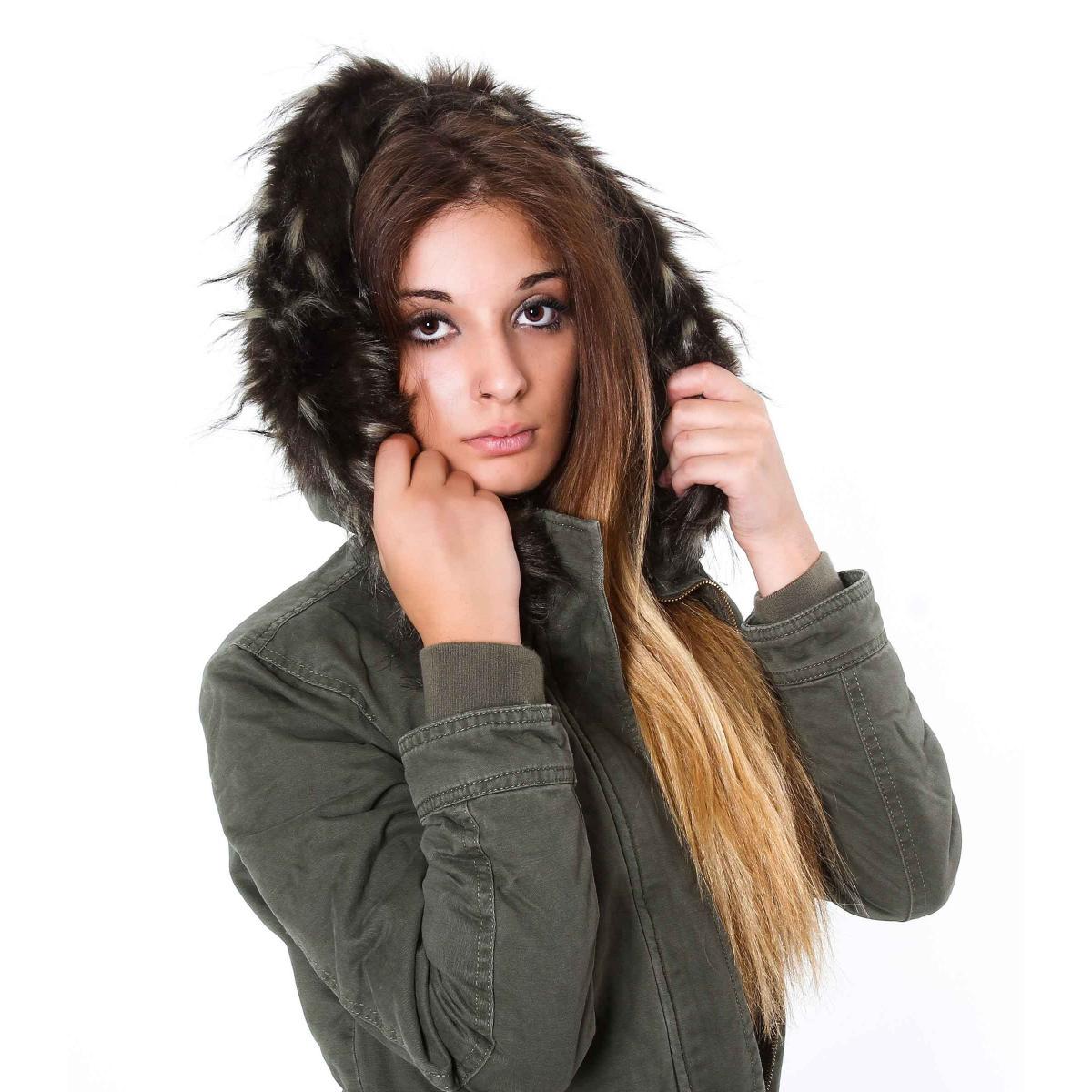Giubbino Parka con cappuccio e imbottitura in pelliccia - donna
