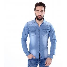 Camicia jeans maniche lunghe denim blu - uomo