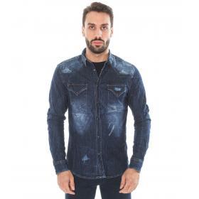 Camicia di jeans in tessuto denim blu - uomo