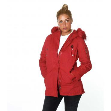 Giubbotto da donna modello Parka in cotone imbottito cappuccio con pelliccia