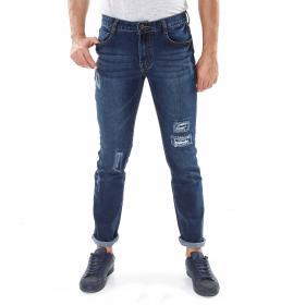 Jeans con strappo denim regular - uomo