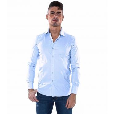 Camicia Uomo in Cotone Classica vestibilità slim fit Elegante
