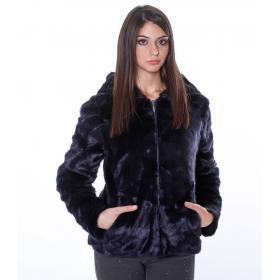 Giacca in pelliccia sintetica con cappuccio - donna