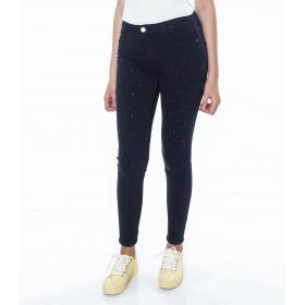 Pantalone 5 tasche con perle - donna