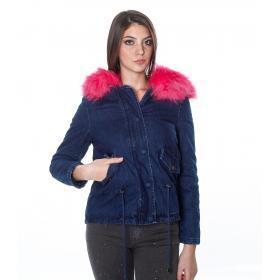 Giubbotto denim con cappuccio e pelliccia colorata - donna